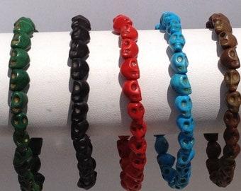 FREE SHIPPING-Men's Skull Bracelet,Men Beaded Bracelet,Skull Men's Bracelet,Skull Stone Bracelet,Stone Men Bracelet,Men's Stretch Bracelet