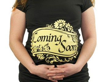 Coming Soon Maternity T-Shirt Clothes Top - Soft yellow banner and flowers - Classic rock punk - Made From Bamboo - SUPER SOFT & Stretchy