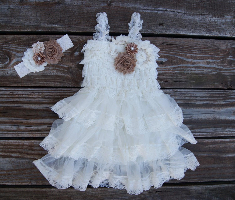 Rustic flower girl dress Flower girl dress Lace toddler