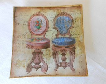 Decoupage glass dish. Chairs Collection