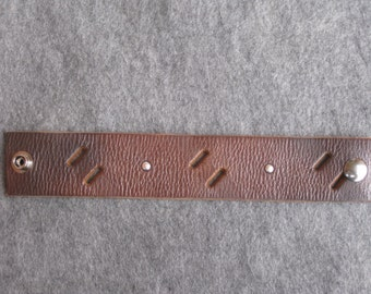 Brown Leather Wristband with cutouts