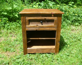 concealed hidden gun compartment pallet wood nightstand, reclaimed wood, repurposed night stand, concealed weapon