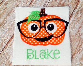 Halloween Pumpkin with Glasses Personalized Shirt