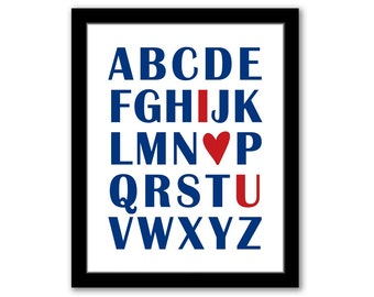 INSTANT DOWNLOAD, Abc I Love You Art, Navy and Red, Playroom Art, Kids Art, Boys Room Art, Nursery Decor, I Love You Art, Baby Gift