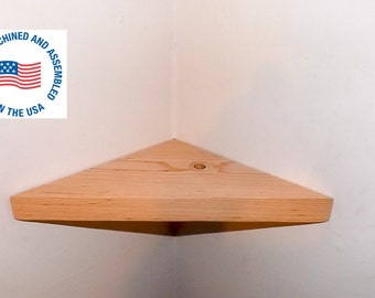 18 Inch Floating Corner Shelf Unfinished and Ready for Paint or Stain Handmade in the USA