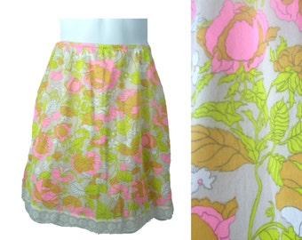 60s Floral Slip Silky Retro Bright Flowers and Lace Skirt By Lorraine Lingerie Sz S