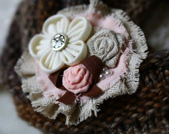 Coral Fabric Brooch, Fabric Flowers Brooch,Handmade Brooches, Floral,Kids Brooch,Kanzashi