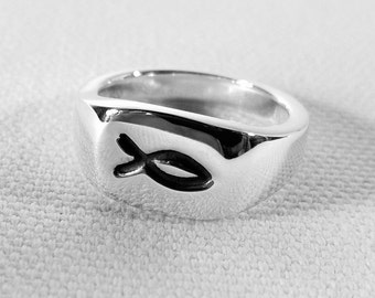 Christian Fish Ring in Sterling Silver - Sterling Silver Jesus Fish Ring, Sterling Silver Christian Fish Ring, Sterling Christian Fish Ring