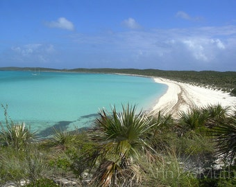 Photography, Bahamas, Sailing, Beach, Anchored in Big Guana Cay, Sea, Fine Art Print, Blue Green Home Decor, 5x7, 8x10, 11x14, Wall Art
