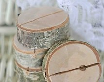 Rustic wedding table card holders, wooden place card holders, SET of 40 natural birch name card holders, Shabby Chic decor