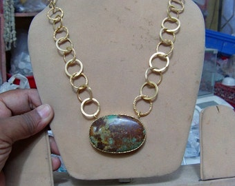 1  pendant necklace Natural Turquoise, Brass on  Gold polished,  15''