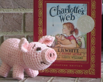 Pig PDF Pattern for crocheted pig inspired by Wilbur in Charlotte's Web