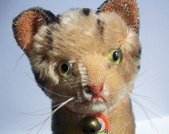 Antique Steiff Mohair Kitten with bell,  tag, and original bow