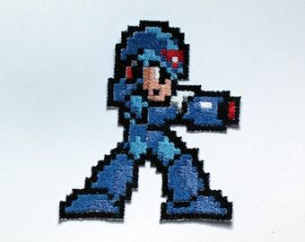 Pixel art Megaman X Shiny Metallic Embroidery Iron On patch.