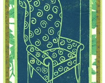 "Green Chair Linocut 5"" x 7"""