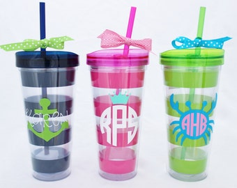 Monogrammed 22 oz. Hot/cold tumbler with straw. Preppy stripe cup with lid.