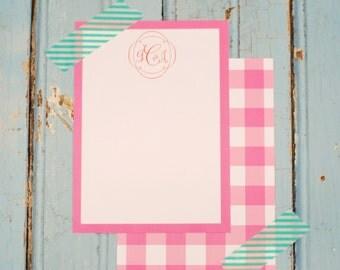 Monogram + buffalo check personalized stationery-FREE SHIPPING or DIY printable
