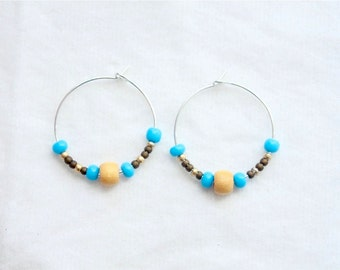 Sky Blue/Wood Small Hoop Earrings
