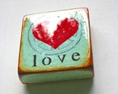 """Wee Vintage Green """"Peace Heart/love"""" - Mixed Media, acrylic,oil,handpainted,light green/mint,gloss resin coat on solid, light spruce block."""