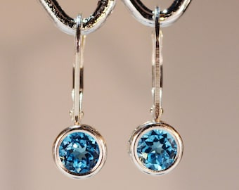 Swiss Blue Topaz Earrings~.925 Sterling Silver Leverback Setting~6mm Round Cut~Genuine Natural Mined