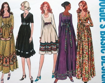Vogue's Basic Design 2635 ~ Boho Hippie Maxi Dress with Fitted Bodice, Empire Waist & Gathered A-line Skirt SIZE 10 CUT 1968 Sewing Pattern