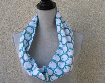 Fabric scarf, Infinity scarf, tube scarf, eternity scarf, loop scarf, long scarf in a whimsical apple cotton print