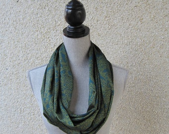 Fabric scarf, Infinity scarf, tube scarf, eternity scarf, loop scarf, long scarf in a green polyester print