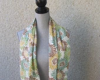 Fabric scarf, Infinity scarf, tube scarf, eternity scarf, loop scarf, long scarf in a brown, yellow, green and ivory print cotton fabric