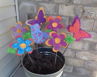 Metal Garden Art Garden Stake Purple, Pink and Orange Butterfly