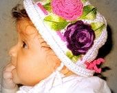"""Crocheted baby/girl hat """"Summer roses"""""""