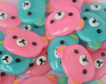 26mm Big Kawaii Pastel Pink and Blue Bear Face Decoden Cabochons - 4 piece set