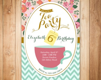 Tea party birthday invitation - Tea party invitation -Princess tea party printable birthday invitation