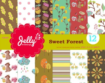 INSTANT DOWNLOAD 12x12 digital papers pack. Forest themed patterns,Squirrel,Acorn,Leaves,Flowers and Clouds.scrapbooking, DIY paper projects