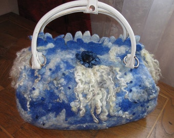 Felted bag and shawl handmade.  Eco accessories. sheep curls, wool