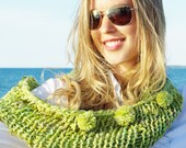 Knitted Green Infinity Scarf with mini Pompons