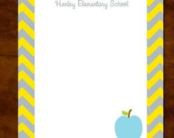 Chevron Personalized Teacher Notepad, Teacher Appreciation Gift, Teacher Gift Giving, Gray and Yellow Chevron, Personalized Teacher Gift