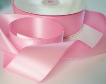 Pink satin ribbon, double-sided, 5 yards, 15 feet, 1.5 inch width