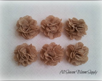 Set of 3 Mini Burlap Flowers, Tan, Fabric Flower, Rosettes, DIY, Hair Accessories, Baby Headbands, 2""