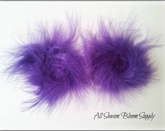 "Set of 2, Marabou Feather Puff, Purple, Feather Puff, DIY, Headband, Supply, Accessories, 3""-3.5""                '"