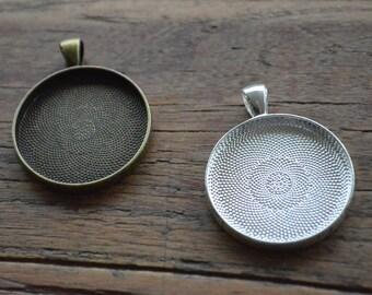 Pendant Tray / Bezel. 30mm Dia. PACK 10. Pendant Blanks. Antique Bronze/Silver. Glass Dome Tray. Jewellery Making Supplies. Sydney Australia