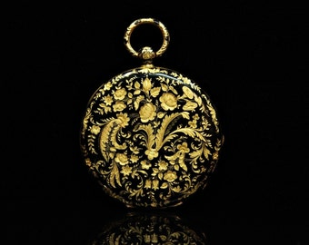 Antique original perfect 18k gold enamel pocket watch