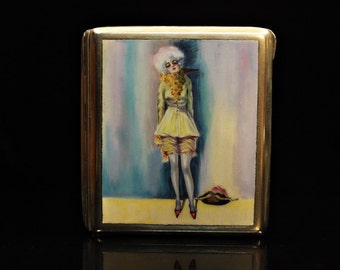Antique original perfect silver plated enamel lady decorated cigarette case