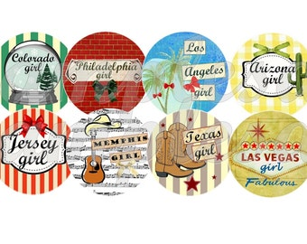 Digital collage sheet,digital bottle cap America city girl Los Angeles miami New York - 1 inch circle , bottlecap,  instant download.