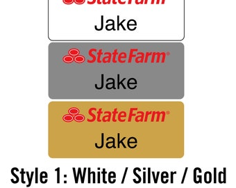 Custom State Farm Jake ANY NAME Employee -  Name Badge Tag with Pin - Personalized - Various Sizes Engraved