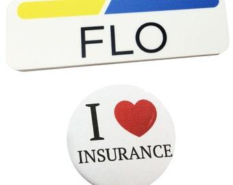 1 x 3 Plastic FLO Name Tag Badge & Button Progressive Insurance Halloween Prop Pack