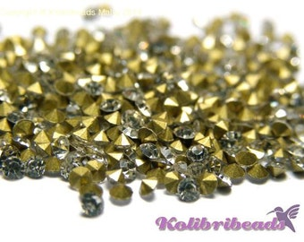 100x Grade A Glass Rhinestone Chatons 1.9 mm - Crystal (clear)