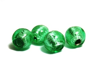 10x Round Silver Foil Glass Beads 8mm - Light Green
