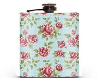 6oz Hip Flask - Pretty Polka-Rose - Designed by Miki Rose
