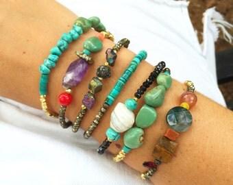 Pyrite Bracelet Raw Quartz Beads Stone Beaded Bracelet Gemstone Jewelry