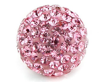 High Quality 10PCS 12MM Crystal stones Loose Spacer Bead Pave Disco Ball Rhinestone Beads light pink
